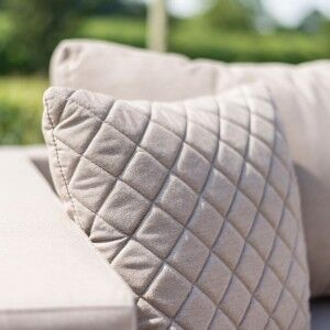 Maze Lounge Outdoor Fabric Scatter Cushion Quilted in Taupe Pair