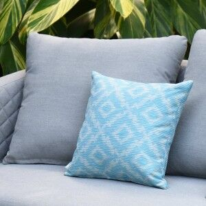 Maze Lounge Outdoor Fabric Scatter Cushion in Santorini Aqua Blue
