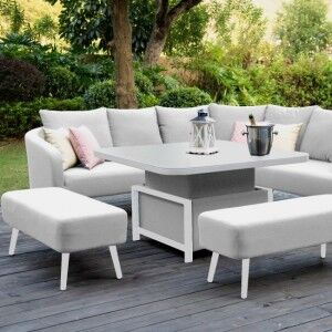 Maze Lounge Outdoor Fabric Ambition Lead Chine Square Corner Dining Set with Rising Table