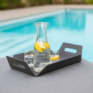 Maze Lounge Outdoor Fabric Aluminium Grey Table Tray