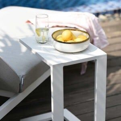 Maze Lounge Outdoor Fabric Aluminium White Side Table