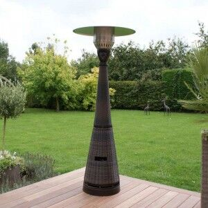 Maze Rattan Garden Furniture Brown Tall Gas Patio Heater