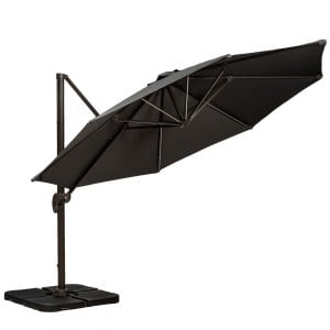 RoyalCraft Round Grey Cantilever Over Hanging Parasol 3.5m with LED Lighting