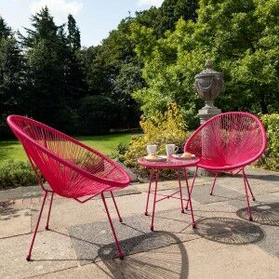Royalcraft Metal Garden Furniture Monaco Pink Egg Chair Set