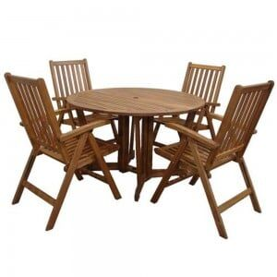 Royalcraft Garden Henley Wooden 4 Seater Gateleg Round Dining Set