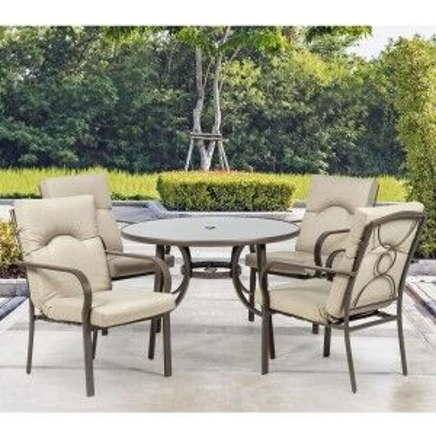 Royalcraft Metal Garden Furniture Amalfi Oatmeal 4 Seater Round Dining Set