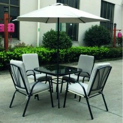 Royalcraft Metal Garden Furniture Amalfi Ivory 4 Seater Padded Dining Set