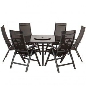 Royalcraft Metal Garden Sorrento Black 6 Seater Round Deluxe Recliner Dining Set