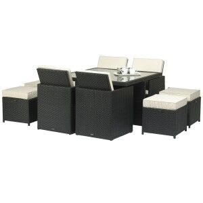 Royalcraft Garden Furniture Cannes Ebony Black 8 Seat Cube Dining Set