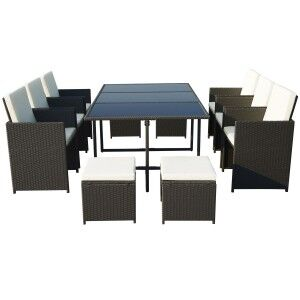 Royalcraft Garden Furniture Cannes Black 10 Seater Cube Set