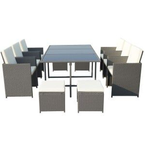 Royalcraft Garden Furniture Cannes Grey 10 Seater Cube Set