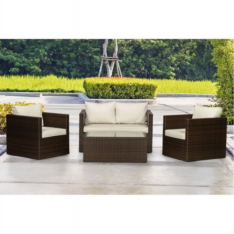 Royalcraft Garden Cannes Mocha Brown 4 Seat Sofa Lounging Coffee Set