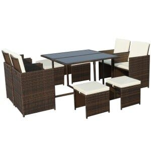 Royalcraft Garden Furniture Cannes Brown 8 Seater Cube Set