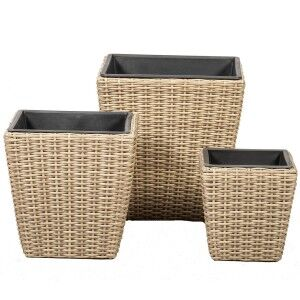 Royalcraft Garden Furniture Genoa Set of 3 Rattan Weave Square Planters