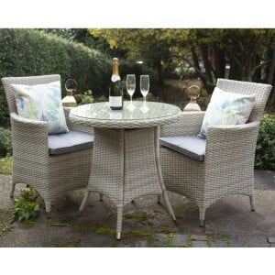 Royalcraft Garden Furniture Lisbon Rattan 2 Seater Carver Bistro Set