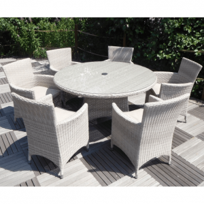 Royalcraft Garden Furniture Lisbon Rattan 6 Seater Round Carver Dining Set
