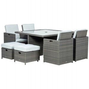 Royalcraft Garden Furniture Marlow Rattan Deluxe 8 Seat Cube Dining Set