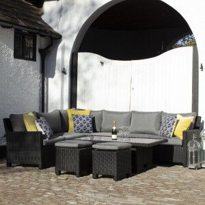 Royalcraft Garden Furniture Onyx 7pc Deluxe Modular Corner Dining & Lounging Set