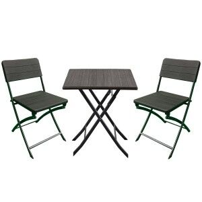 Royalcraft Metal Garden Furniture Carini Wood Effect Bistro 2 Seater Set