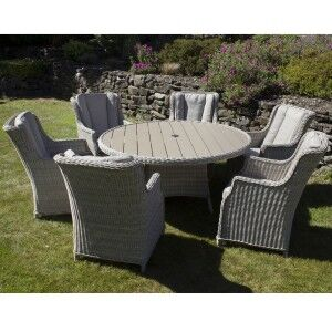 Royalcraft Garden Seychelles 6 Seater Round Highback Comfort Dining Set with Polywood Table Top