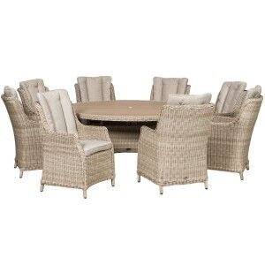 Royalcraft Garden Seychelles 8 Seater Round Highback Comfort Dining Set with Polywood Table Top