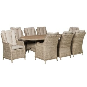 Royalcraft Garden Seychelles 8 Seater Oval Highback Comfort Dining Set with Polywood Table Top