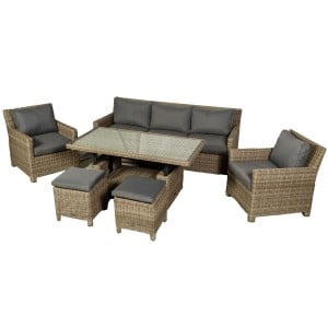 Royalcraft Garden Wentworth 7 Seater 6pc Sofa Dining Set with Adjustable Height Table
