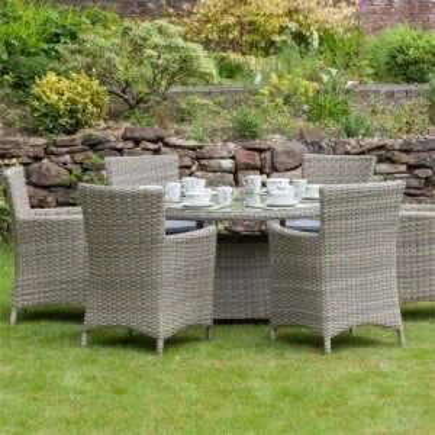 Royalcraft Garden Furniture Wentworth Rattan 6 Seat Oval Carver Dining Set