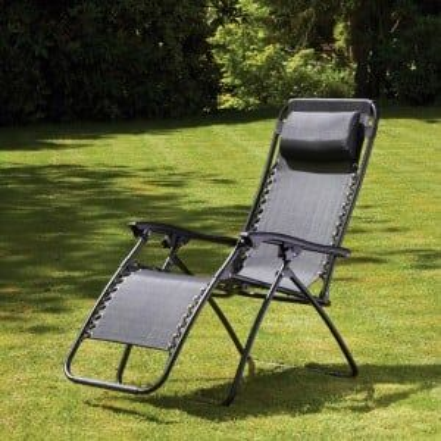 Royalcraft Metal Garden Furniture Black Zero Gravity Relaxer Pair