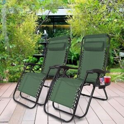 Royalcraft Metal Garden Furniture Green Zero Gravity Relaxer Pair