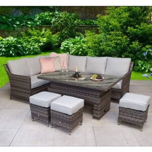 Signature Weave Garden Furniture Edwina Grey Corner Dining Set with Lift Table & Ice Bucket