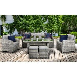 Signature Weave Garden Furniture Amy Creamy Grey 3 Seater Sofa Dining Set