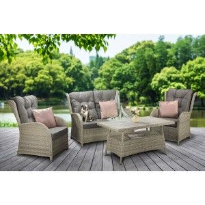 Signature Weave Garden Furniture Meghan 4 Seat Creamy Grey Sofa Set with Supper Table