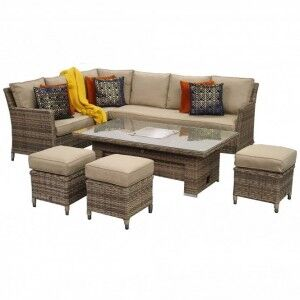 Signature Weave Garden Furniture Edwina Brown Corner Dining Set with Lift Table & Ice Bucket