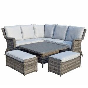 Signature Weave Garden Furniture Mia Corner Dining Sofa Set with Lift Table