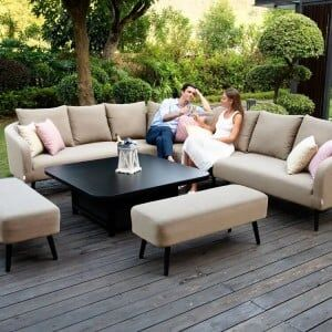Maze Lounge Outdoor Fabric Ambition Taupe Square Corner Dining Set with Rising Table