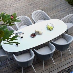 Maze Lounge Outdoor Fabric Ambition Lead Chine 8 Seat Oval Dining Set