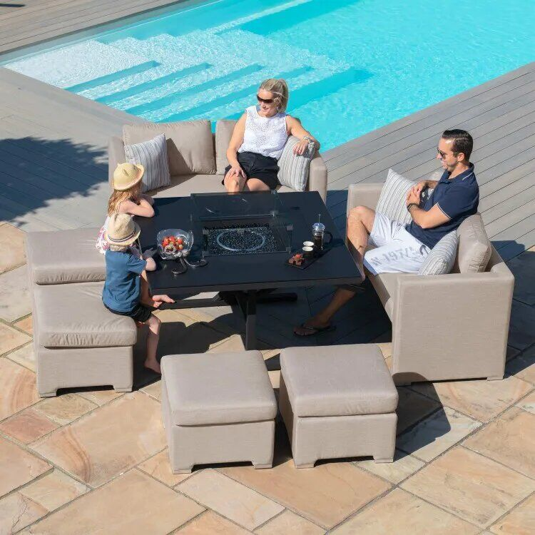 Maze Lounge Outdoor Fabric Fuzion Taupe Sofa Cube Set with Fire Pit