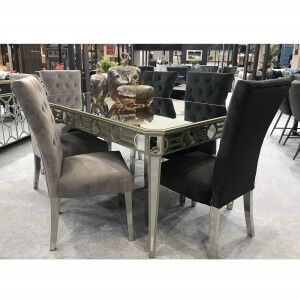 Vida Living Rosa Mirrored Furniture 180cm Dining Table & 6 Chairs