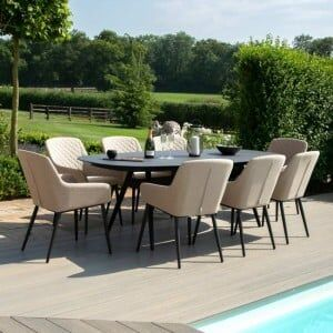 Maze Lounge Outdoor Fabric Zest 8 Seat Oval Dining Set in Taupe