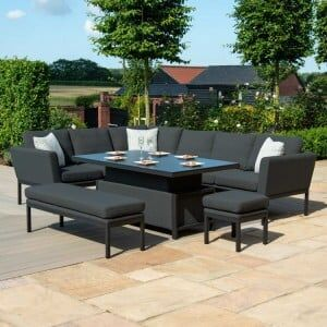 Maze Lounge Outdoor Fabric Pulse Rectangular Charcoal Corner Dining Set with Rising Table