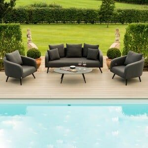 Maze Lounge Outdoor Fabric Charcoal Ambition 3 Seat Sofa Set