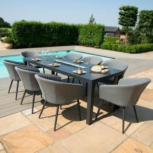 Maze Lounge Outdoor Fabric Ambition Flanelle 8 Seat Rectangular Fire Pit Dining Set