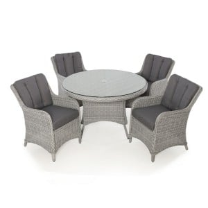 Maze Rattan Garden Furniture Ascot 4 Seat Round Dining Set