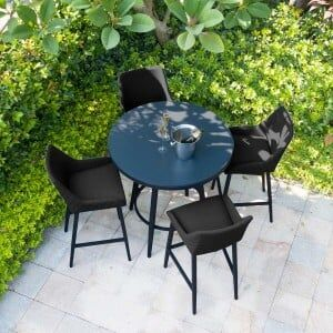 Maze Lounge Outdoor Fabric Regal Charcoal 4 Seat Round Bar Set