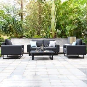 Maze Lounge Outdoor Fabric Ethos Charcoal 2 Seat Sofa Set