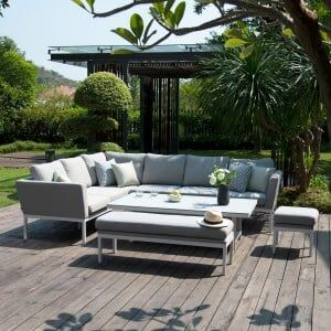 Maze Lounge Outdoor Fabric Pulse Rectangular Lead Chine Corner Dining Set with Rising Table