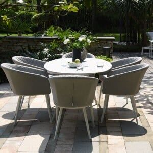 Maze Lounge Outdoor Fabric Ambition Lead Chine 6 Seat Oval Dining Set