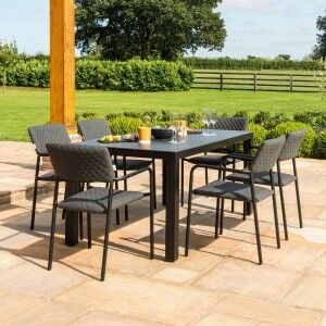 Maze Lounge Outdoor Fabric Bliss Charcoal 6 Seat Rectangualr Dining Set