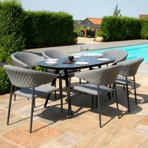 Maze Lounge Outdoor Fabric Pebble Flanelle 6 Seat Oval Dining Set